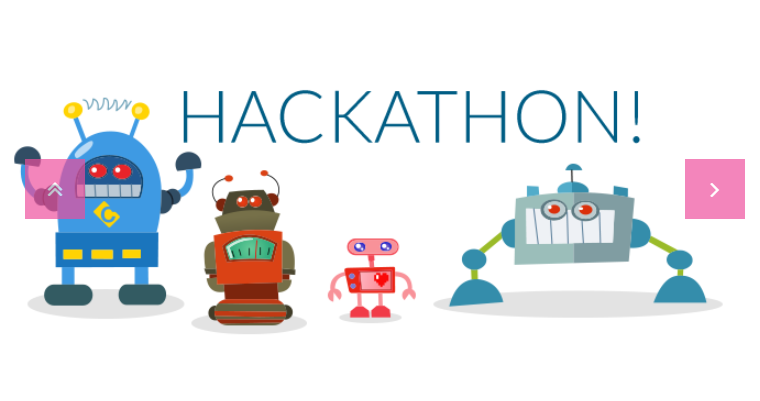 scritta hackaton! con sotto dei robot disegnati
