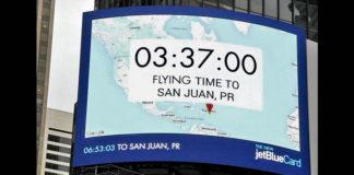 pubblicità che mostra il tempo di volo fino a San Juan