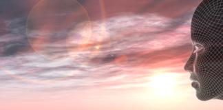 modello poligonale davanti a un tramonto