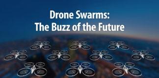 droni nel cielo con scritta sopra