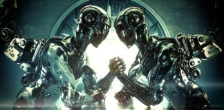 due robot che fanno il braccio di ferro
