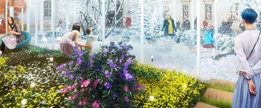madre e figlio davanti a una vetrina di living nature