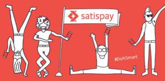 Copertina illustrativa di satispay, sfondo rosso con omini bianchi felici. Satispay mobile payment