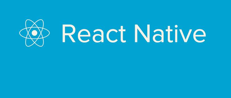 react native, una scritta bianca su sfondo azzurro