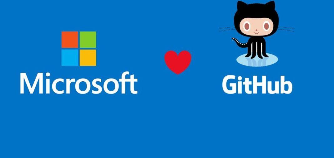 loghi di Microsoft e GitHub con in mezzo un cuore