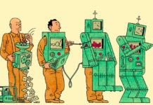 l'immagine racconta in successione com eun umano abbia inventato un robot e come questi, divenuto autonomo, si sia sbarazzato dell'umano
