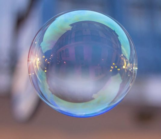 Soap bubble representing fake news.